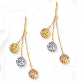 14k Tao-tnoe Triple Drops French Wire Earrings