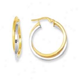 14k Two-tone Triple Hoop Earrings
