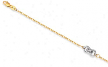 14k Two-tone Triple Rings Anklet - 10 Inch