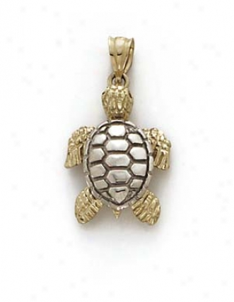 13k Two-tone Turtle Pendant