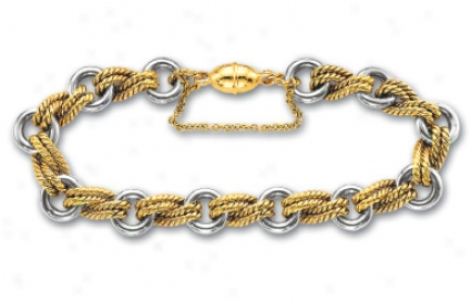 14k Two-tone Twisted And Round Rolo Bracelet - 7.5 Inch