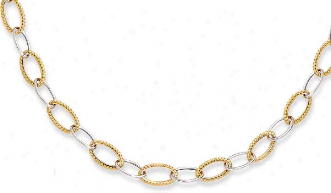 14k Two-tone Twisted Design Fancy Oval Link Necklace - 18 In