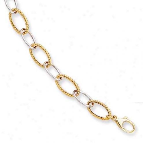 14k Two-tone Twisted Fancy Oval Link Bracelet - 7.25 Inch