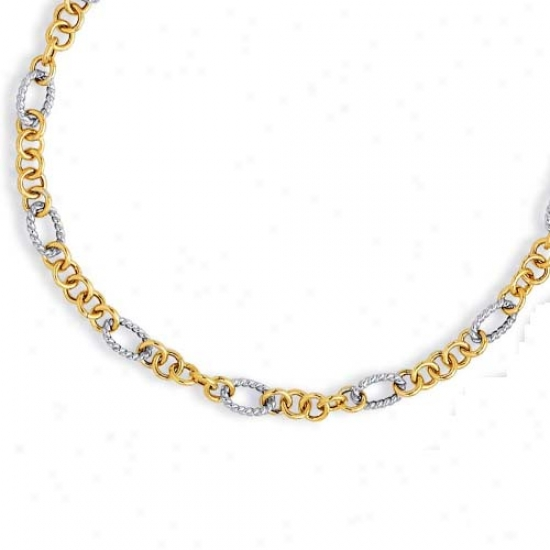 14 kTwo-tone Twisted Fancy Station Link Necklace - 18 Inch