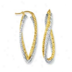 14k Two-tone Twisted Hoop Earrings