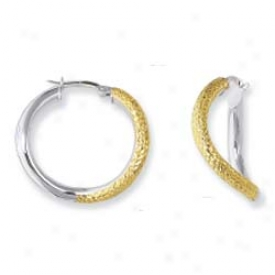 14k Two-tone Twisted Satin And Diamond Cut Bind Earrings