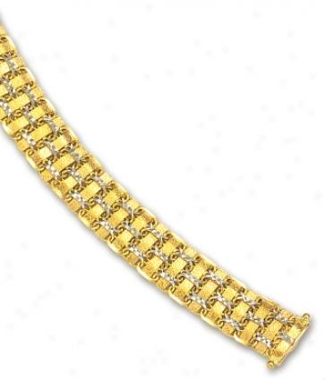 14k Two-tone Weave Bracelet - 7.25 Inch