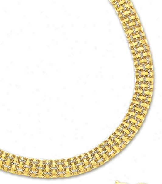 14k Two-tone Weave Necklace - 17 Inch