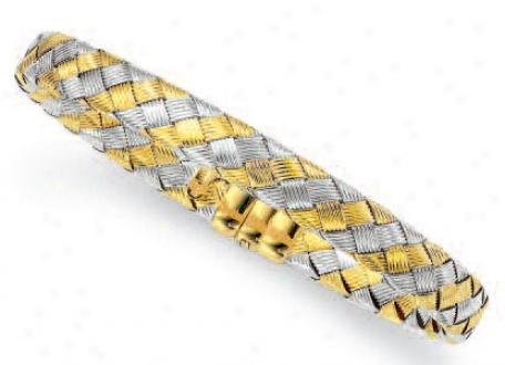 14k Two-tone Weaved Bracelet - 7.25 Inch