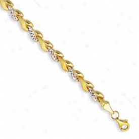 14k Two-tone Wheat Shaped Diamond Cut Bracelet - 7.25 Imch