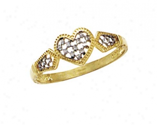 14k Two-tone X Diamond-cut Hart Ring