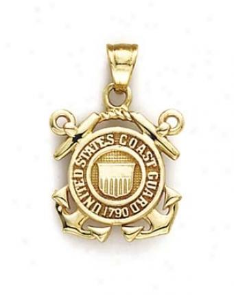 14k Us Shore Guar Emblem Pendant
