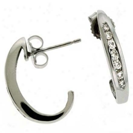 14k White 0.29 Ct Diamond Earrinsg