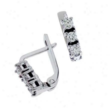 14k White 0.36 Ct Diamond Earrings