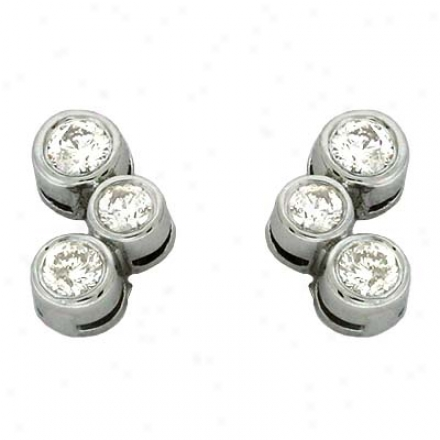14k White 0.45 Ct Diamond Earrings