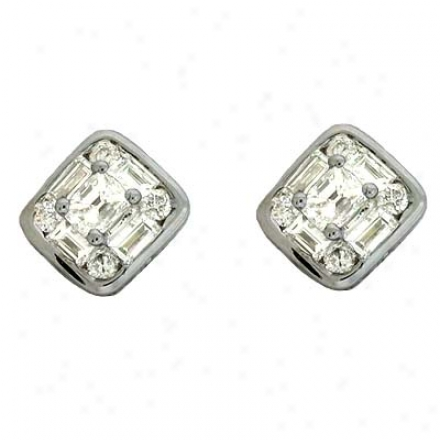 14k White 0.53 Ct Diamond Earrings
