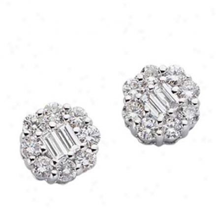 14k White 0.56 Ct Diamond Earrings