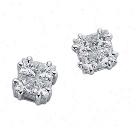 14k White 0.59 Ct Diaamond Earrings