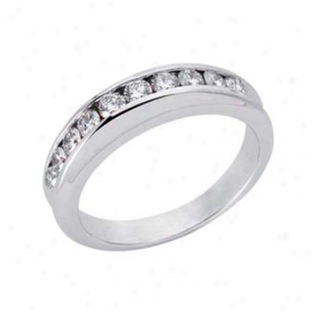 14k White 0.6 Ct Diamond Band Ring