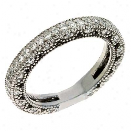 14k White 0.84 Ct Diamond Band Ring