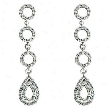 14k White 0.92 Ct Diamond Earrings