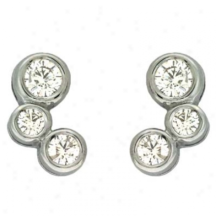 14k White 1 Ct Diamond Earrings