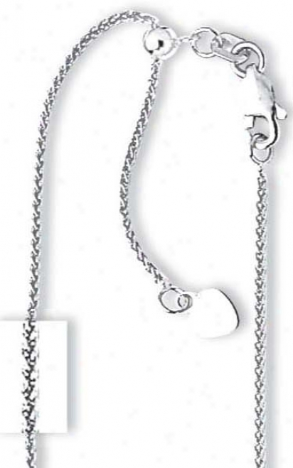 14k White 1 Mm Adjustable Wheat Chain Necklace - 22 Inch