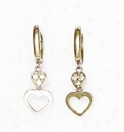 14k White 1 Mm Round Cz Petite Heart Hinged Earrings