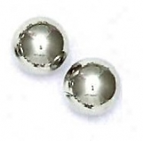 14k White 10 Mm Dance Friction-back Pillar Stud Earrings