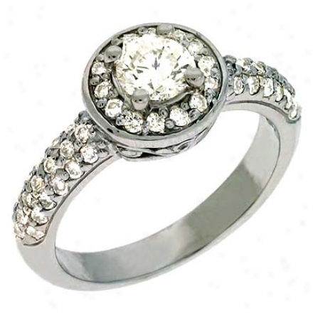 14k White 1.02 Ct Diamond Engagement Ring