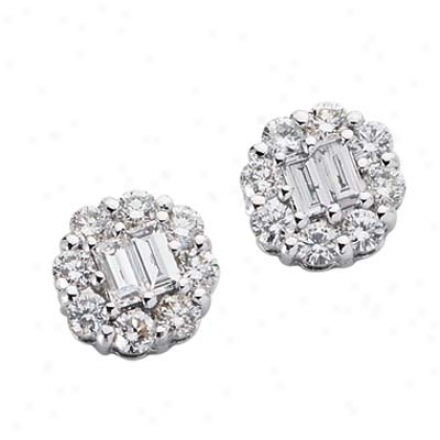 14k White 1.11 Ct Diamond Earrings