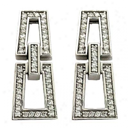 14k White 1.17 Ct Dianond Earrings
