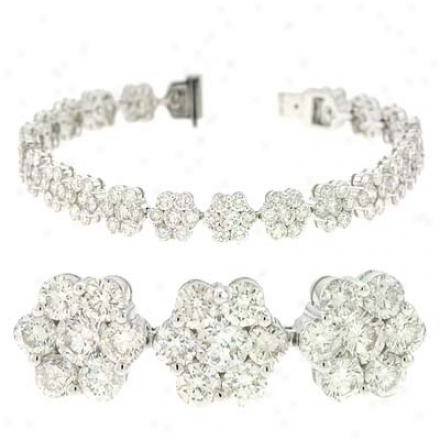 14k White 12.32 Ct Diamond Bracelet