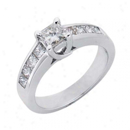 14o White 1.35 Ct Diamond Engagement Ring