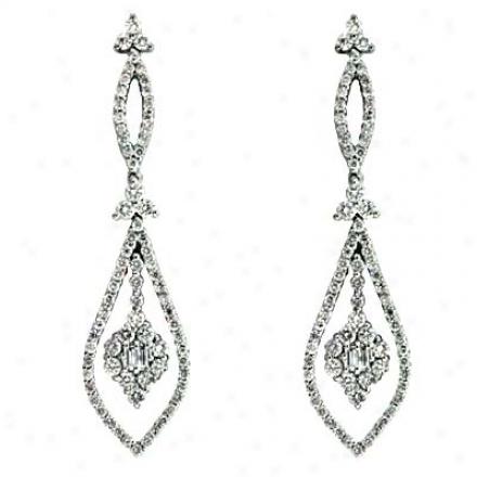 14k White 1.36 Ct Diamond Earrings