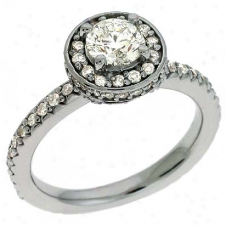 14k White 1.39 Ct Diamond Engagement Ring