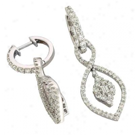 14k White 1.45 Ct Diamond Earrings