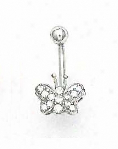 14k White 1.5 Mm Roound Cz Butterfly Belly Ring