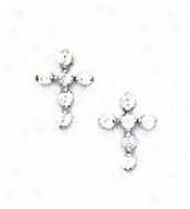 14k White 1.5 Mm Round Cz Cross Friction-back Post Earrings