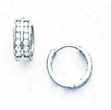 14k White 1.5 Mm Round Cz Hinged Earrings