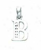 14k White 1.5 Mm Round Cz Initial B Ear-ring