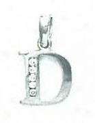 14k White 1.5 Mm Round Cz Initial D Pendant