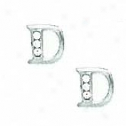 14k White 1.5 Mm Round Cz Initial D Post Earrings