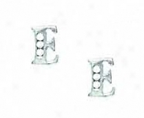 14k Of a ~ color 1.5 Mm Round Cz Initial E Post Earrings