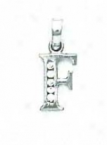 14k White 1.5 Mm Round Cz Initial F Pendant