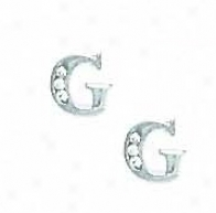 14k White 1.5 Mm Round Cz Initial G Post Earrings