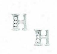 14k White 1.5 Mm Round Cz Initial H Post Earrings