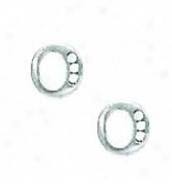 14k White 1.5 Mm Quick Cz Initial O Post Earrings