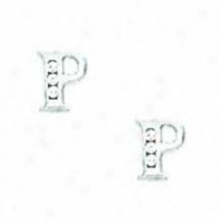 14k White 1.5 Mm Round Cz Initial P Stigmatize  Earrings