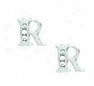 14k White 1.5 Mm Round Cz Initial R Post Earrings